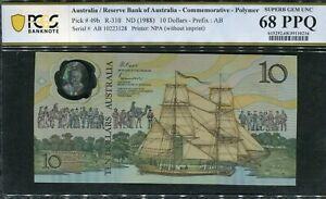 1988 $10 Johnston Fraser  Bicentennial  AB 10223128   PCGS Superb GEM UNC 68 PPG