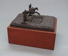 EQUESTRIAN BRONZE - Horse & Rider Jumping Obstacle (c. 1940s)