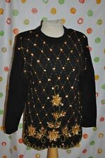 VTG SMALL women UGLY black VICTORIA HARBOUR CHRISTMAS gold beads flowers SWEATER