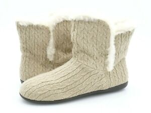 Vionic Womens Cozy Kari Taupe Cable Knit Faux Fur Slip On Sock Winter Booties