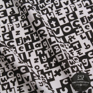 Printed Cotton Poplin, Alphabet Blocks, Black & White 140cm Wide, 1 Metre Length