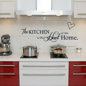 The Kitchen Heart Home Quote Wall Stickers Art Family Room Removable Decal DIY