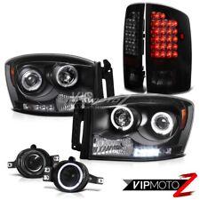 Halo Headlight+LED Tail Lamps+Fog Light <Darkest Smoke>2007 2008 2009 Dodge Ram