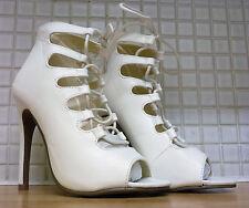 Linzi Para Mujer Alix lazada talón imitación Zapatos De Cuero Blanco Nuevo Tamaño 3/36 En Caja
