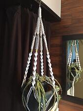 Macrame Plant Hanger Platinum and White 4 Tan BEADS