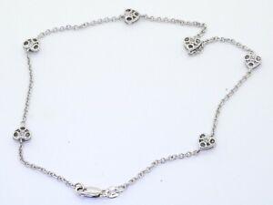 14K white gold lovely elegant .06CTW diamond filigree heart chain bracelet