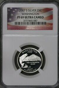 US 2007S Silver Washington State Quarter NGC PF69 Ultra Cameo  S493