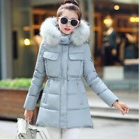 Winter Women Raccoon Large Warm Fur Jacket Collar Hooded Thick Down Coat Parka