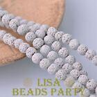 30pcs 8mm Round Lava Stone Natural Gemstone Loose Spacer Beads White