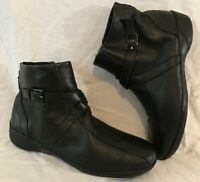 K By Clarks Wide Fit Black Ankle Leather Lovely Boots Size 7 (492Q)