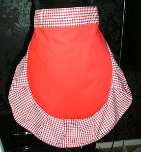 LADIES RED + WHITE 50'S HALF WAIST APRON PINNY RETRO VINTAGE STYLE FRILLY
