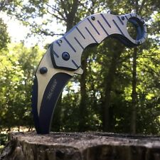 """7"""" BLUE Spring Assisted Open Folding Pocket Knife Karambit Claw Tactical New EDC"""