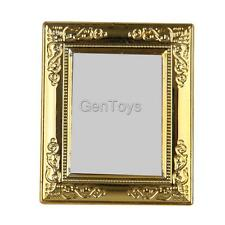 1/12 Dollhouse Golden Frame Mirror Miniature Furniture Model Home Decoration