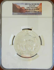 2011 5 OZ SILVER ATB America The Beautiful Glacier Early Releases NGC GEM UNC