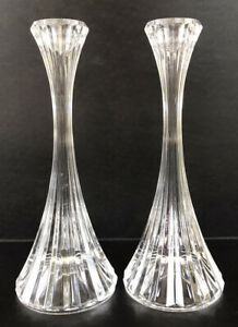 """Mikasa Crystal Park Lane Candle Stick Holders 8"""" Tall Set Of 2"""