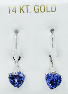 GEMSTONE TANZANITE DANGLING EARRINGS 14K WHITE GOLD ** NEW WITH TAG **
