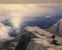 Rocky Coastal Aegean Sea w/ Ship & Birds Russian Painting Art Real Canvas Print
