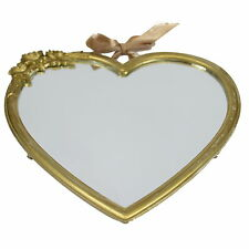 Gold Heart Wall Mirror Shabby Vintage Chic on Ribbon Decoration