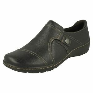 Ladies Clarks Ultimate Comfort Casual Slip On Leather Shoes Cora Poppy
