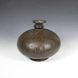 ANTIQUE EROTIC FIGURES VESSEL INCISED COPPER INDO-PERSIAN 19TH C.