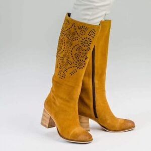 AMAZIA Beige Womens Ladies Suede Leather Knee High Boot, UK Size 3 4 5 6 7 8