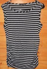 Women's Black & Gray Stripe Top Shirt Tank GREEN ENVELOPE Size MED. Rayon Blend