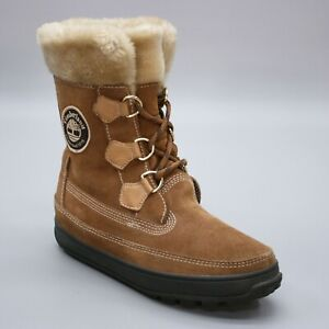 Timberland Ladies 8 M Mukluk Chestnut Brown Suede Lace-up Ankle Boots 2611