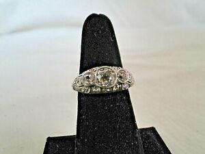 Platinum Filigree Diamond Ring size 6 3/4