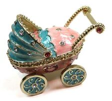 Baby Stroller Trinket Box with Crystals Hand Painted Baby Stroller Jewelry Box