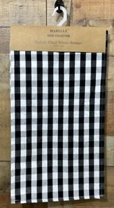 Table Runner Black & White Buffalo Plaid Woven Checkered Mabelle Collection