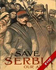 1915 WWI SAVE SERBIA ALLY USA PROPAGANDA POSTER PAINTING REAL CANVASART PRINT