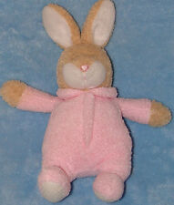 "Carters Plush Tan Bunny Rabbit Baby Rattle Pink Sleeper Jingle Bell 9"" Soft Toy"