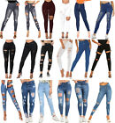 WOMENS HIGH WAISTED SKINNY JEANS RIPPED LADIES JEGGINGS KNEE PLUS SIZE UK 6-22