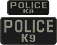 POLICE K-9 embroidery patches 4x8 and 2x6 hook grey letters black