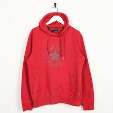 Vintage CONVERSE Big Logo Hoodie Sweatshirt Red | Small S