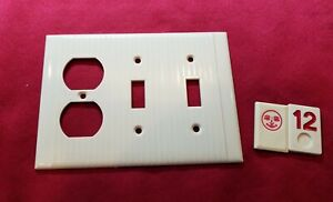 1 Ivory Vtg Ribbed Deco 3 Gang 2 Toggle 1 Outlet Combination Cover Plate  - RJ12