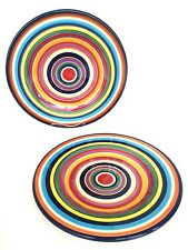 NEW! TABLETOPS UNLIMITED 'Havana' Set of 2 Hand Painted Salad Dishes Striped