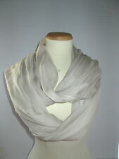 CHANEL SHEER  SILK  SHAWL / SCARF    LIGHT   CREAM  SOLID   COLOR.