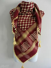 Burgundy Gold Arab Shemagh Head Scarf Neck Wrap Cottton Palestine Arafat DK Red