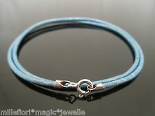 """2mm Metallic Blue Leather & Sterling Silver Necklace Or Wristband 16"""" 18"""" 20"""" 22"""