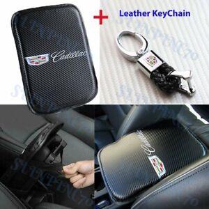 X1 For CADILLAC Car Center Armrest Cushion Pad Cover with Black Leather Keychain