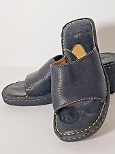 Born Pebble Leather Women's Slip On Open Toe Clogs Black Size 7 US 38 Euro
