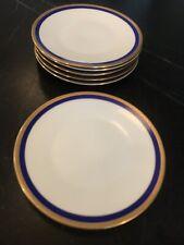 "(6) Rosenthal Germany BETTINA Salad Dessert 7.75"" Plates Cobalt Blue Gold 3345"