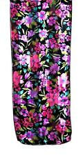 SCARF Pink Lavender Green Turquoise On Black Background Floral SUMMER FLOWERS
