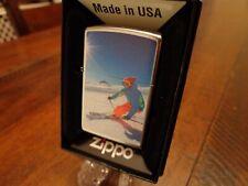 DOWNHILL SKIING SKIER ZIPPO LIGHTER MINT IN BOX