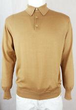 $800 BRIONI Men Long Sleeve Polo Shirt Knit Sweater 3Button Cashmere Silk 52 M L