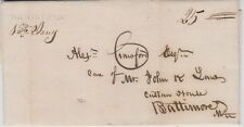 HAMILTON, OHIO 1838 Stampless FL with Black Straight Line to Baltimore, Maryland