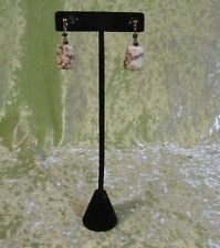 Post Earrings with Dangling White and Brown Beads