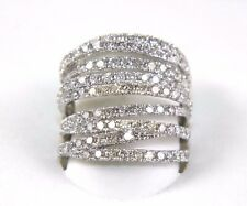 Fine Bypass Criss Cross Diamond Lady's Fashion Ring Band 14k White Gold 3.00Ct