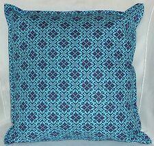 "Cushion Cover teal Blue Geomatric print 100% cotton zipped 18"" X 18"" - FREE p&p"